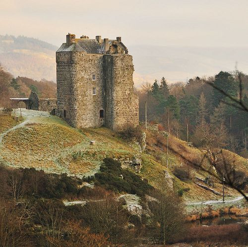 14th century Neidpath Castle sits high above the river Tweed, Scotland