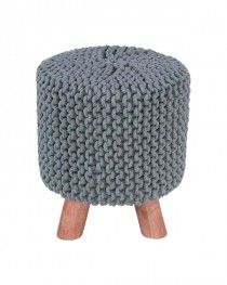 Sea Grey Knitted Footstool with Tripod Wooden Legs