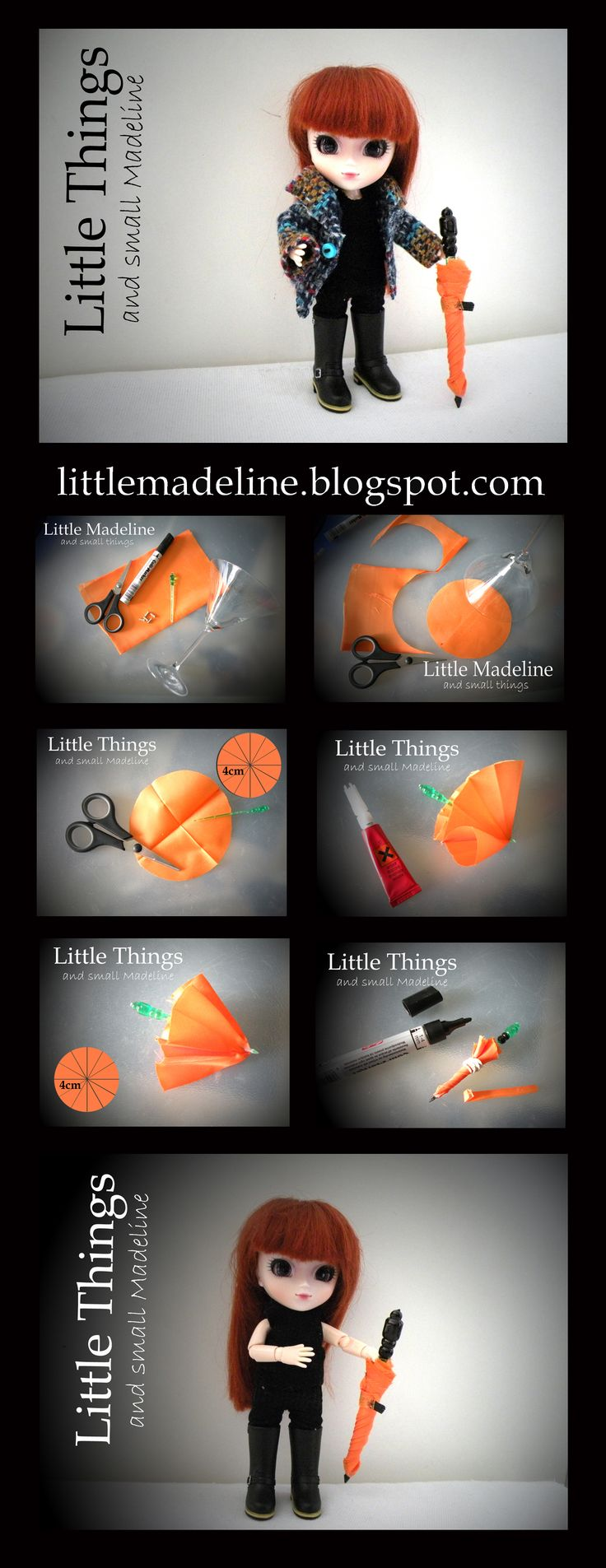 umbrella 1:12 - miniature umbrella for little pullip doll