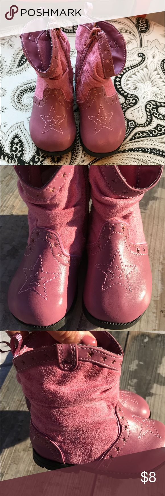 Toddler pink cowgirl boots Adorable pink cowgirl boots by Faded Glory, gently worn but we'll take with no signs of wear and tear.  Side zip,star detail on toe. Size 5 toddler, Smoke free home Faded Glory Shoes Boots