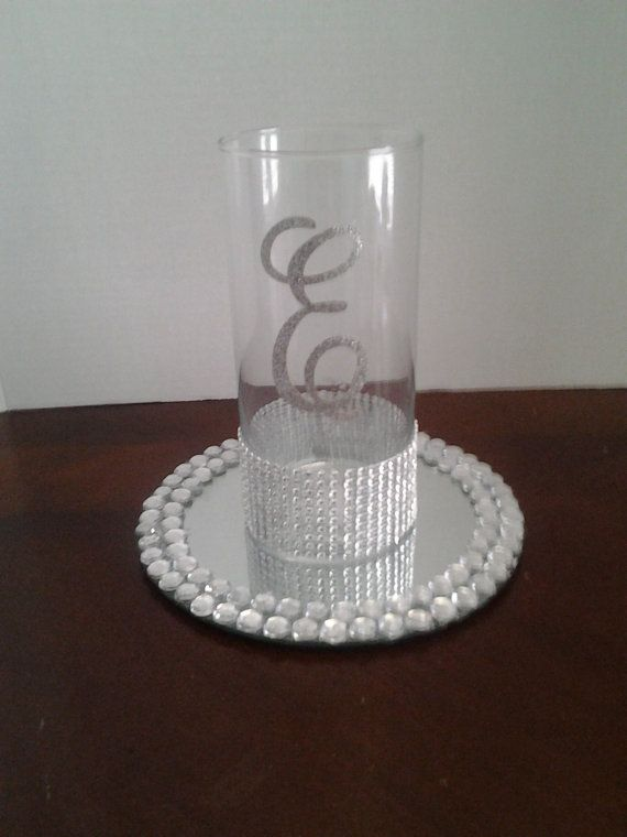 """Wedding centerpiece,  glass candle holder, Wedding decorations ,Rhinestone candleholder and vase with 8""""glass mirror tray initials A-Z"""