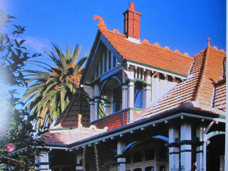 Federation Queen Anne in Melbourne. Note the ridge-capping representing the dragon (finial) appendage.