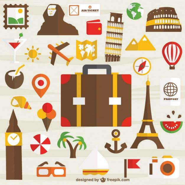 Viagens de férias conjunto de ícones gratuitos para download Vetor grátis