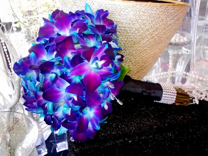 blue orchid flower wedding | Blue Orchid Bouquet. Classy, yet colorful choice!