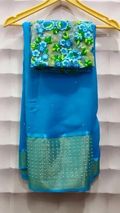 Chiffon pearl work saris with Gujri Blouses Price : 3500