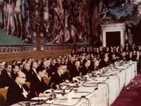 Signing of the Treaty of Rome, 25 March 1957, which leads to the foundation of the EEC.  The chief goal of the EEC (known as the 'Common Market') is to create economic cooperation in Europe. The wider vision is to eliminate barriers which divide Europe and create a strong united states of Europe.