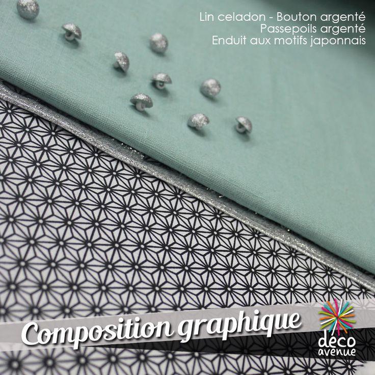 Tissu enduit à motifs japonnais, très graphique, parfait avec un lin céladon, et du passe poils argenté, des petits boutons argentés.
