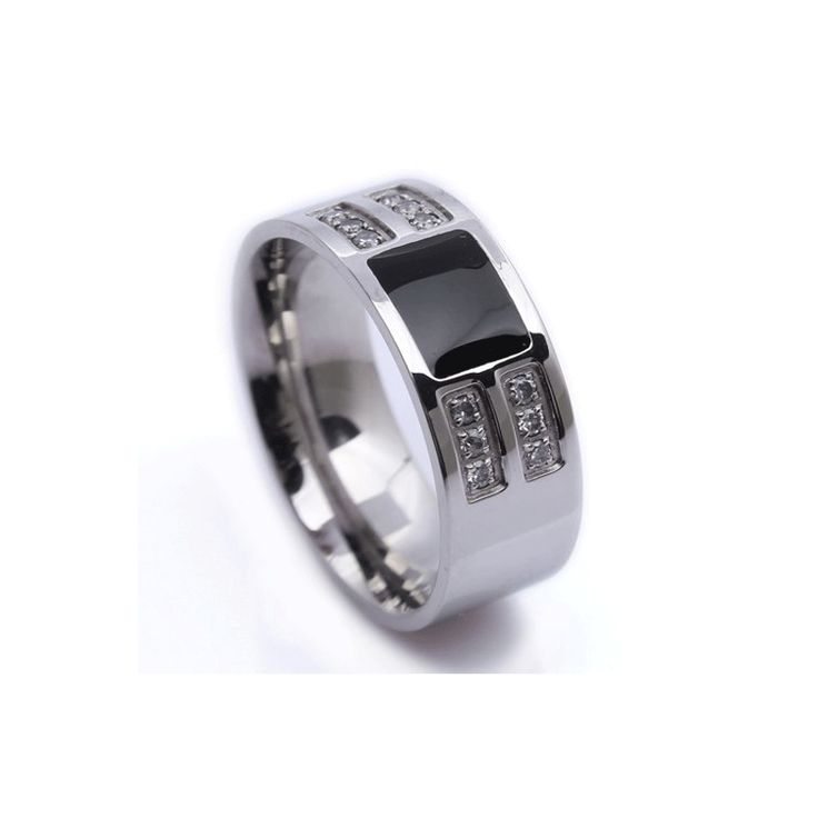 Stainless Steel Band with Black IP inlay and 12 drill set Crystals. http://lily316.com.au/shop/collection/mens-stainless-steel-black-ip-inlay-and-crystal-ring/