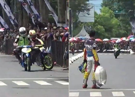 Video Aksi Tak Sportif Pembalap Road Race Bondowoso Yang Mendadak Viral