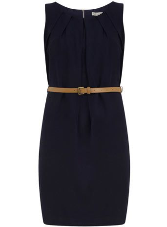 Navy long pleat belt dress - View All  - Dresses