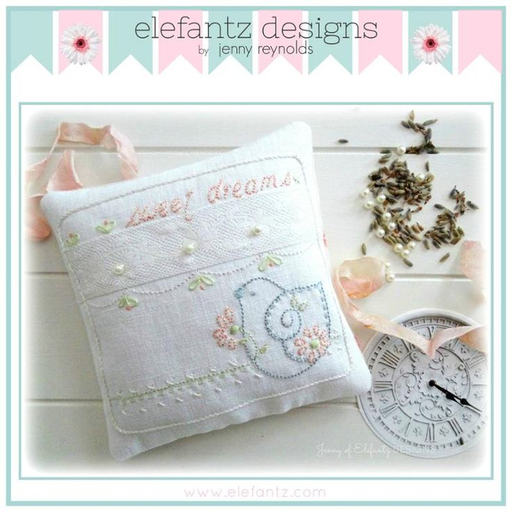 """Sweet Dreams"" embroidery pattern and lavender sachet project. PDF download."
