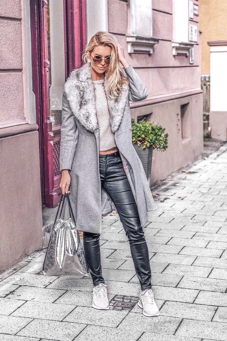 Grauer Mantel mit Sneaker: schräg und stylisch. Heute im Blog zeige ich euch, wie man einen lässigen WInter-Look stylen kann.