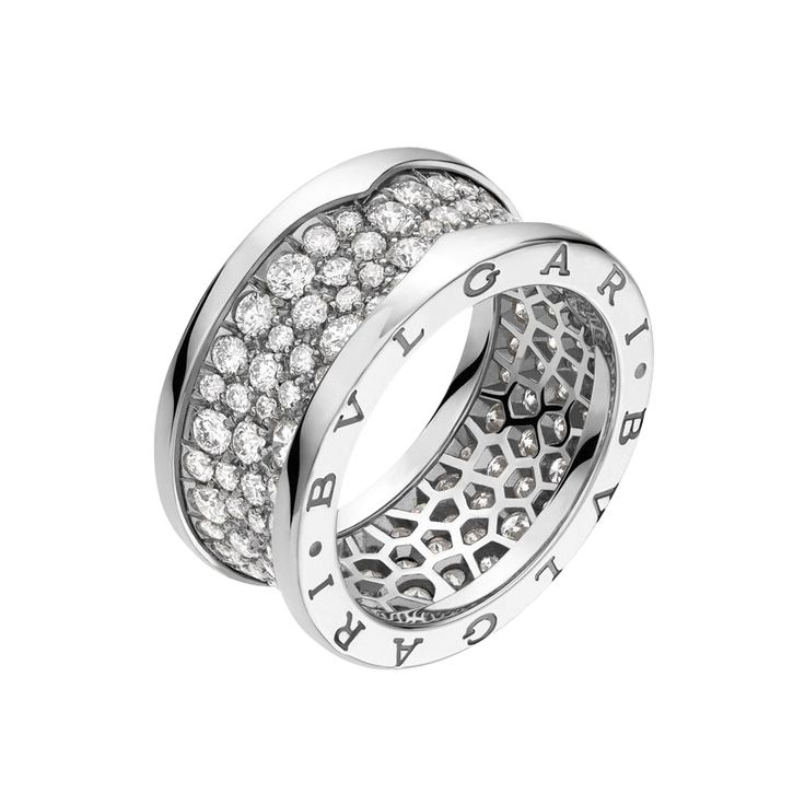 bulgari bzero1 18k white gold u0026 diamond band ring
