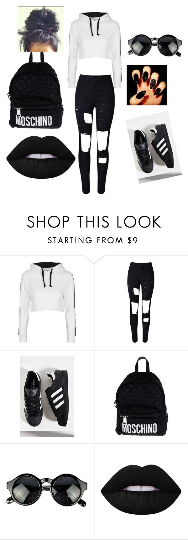 """""""Cute Girl Starter Pack"""" by nique9989 ❤ liked on Polyvore featuring Topshop, WithChic, adidas, Moschino and Lime Crime"""