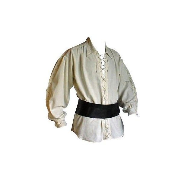 Medieval Pirate LARP Front Lacing Shirt, Natural (68 AUD) ❤ liked on Polyvore featuring tops, pirate, shirts, men, laced up shirt, shirt top, laced shirt, lace up front top and laced tops