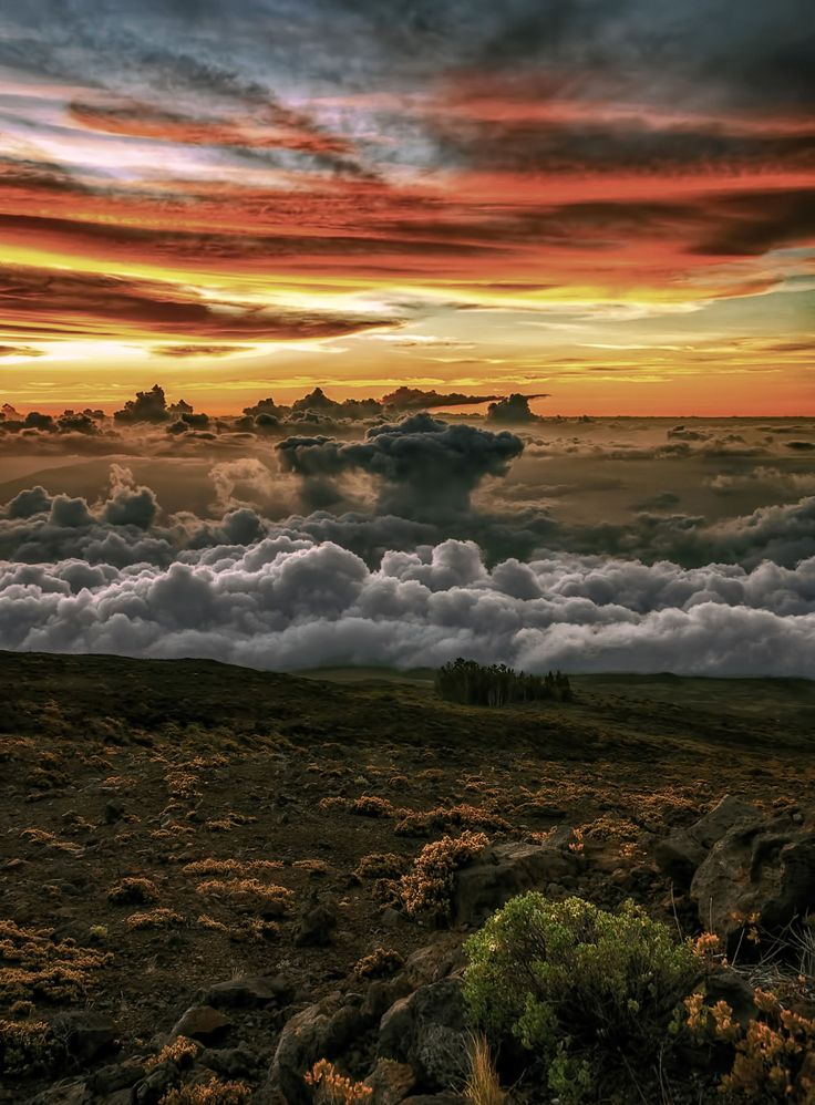 """""""Above the Storm by Pretzel Logic - Shot from Maui's Haleakala at sunset Explore Hawaii's top destinations at HobbyEarth """""""