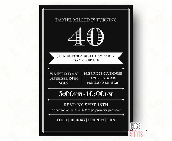 The 25 best 40th birthday invitations ideas – Mens 40th Birthday Invitations