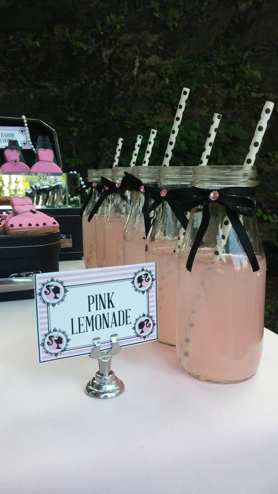 Vintage Barbie Birthday Party lemonade!  See more party ideas at CatchMyParty.com!