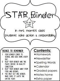 """Love the idea of """"homework"""" binders. Depending on grade level will depend on what all you include!"""