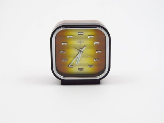 coral retro alarm clock two tone bronze dial made in by decirculo