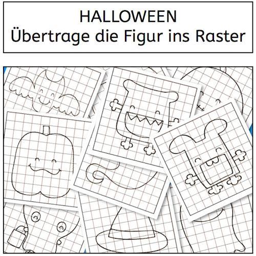 Halloween, Übertrage die Figur ins Raster, Wahrnehmung, Legasthenie, Dyskalkulie, Eltern, Kinder, Arbeitsblatt, visuelle Wahrnehmung, räumli...