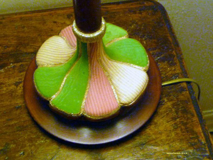base in legno per paralume decorata con stoffe 12