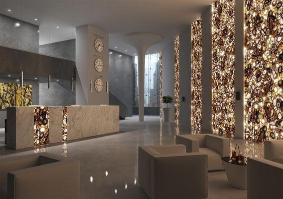 Natural Agate Backlit Hotel Reception Hotel