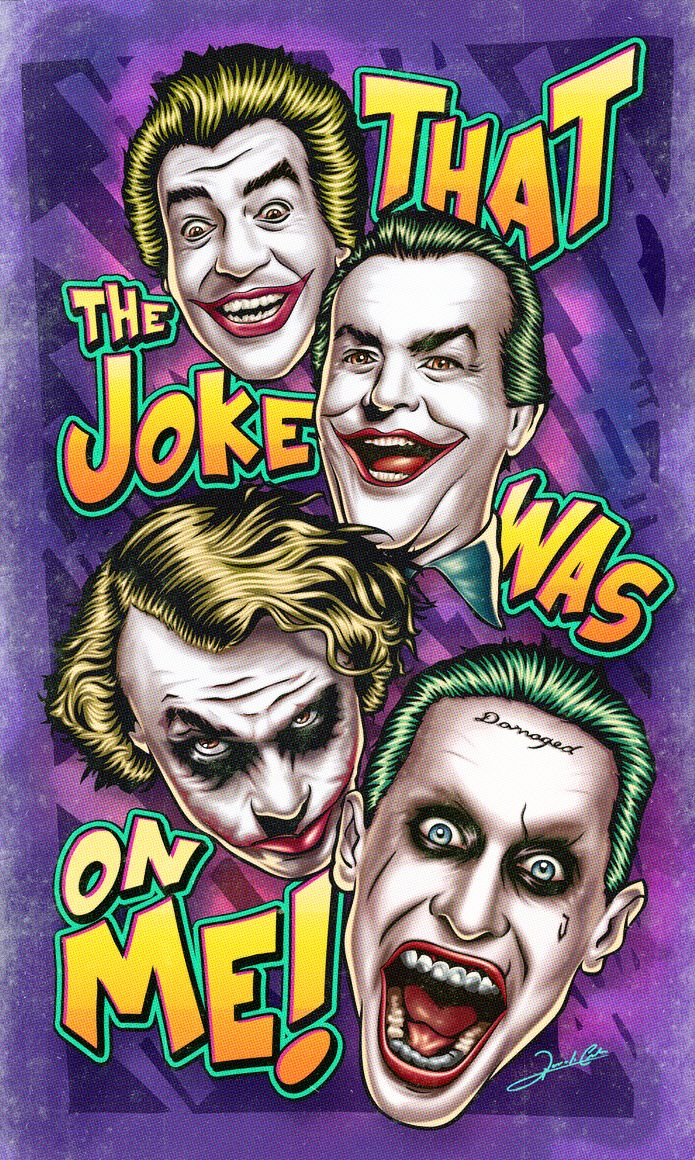 """Ilustração homenageando o maior vilão de todos os tempos, Coringa, e seus interpretes no cinema. Na arte aparecem o """"palhaço"""" Cesar Romero (1966), o """"gangster"""" Jack Nicholson (1989), o """"anarquista""""..."""