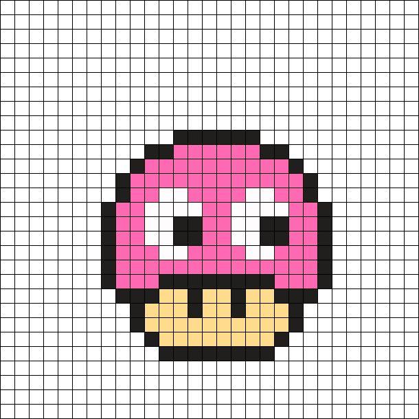 Pinky - Pac-Man Mushroom Perler Bead Pattern