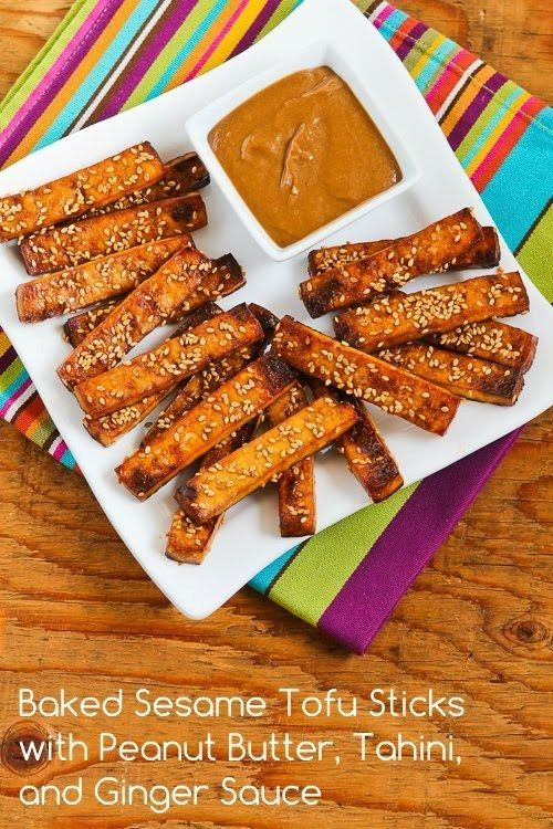 Baked Sesame Tofu Sticks with Peanut Butter, Tahini, and Ginger Sauce | 26 Recipes That Will Make You Love Tofu