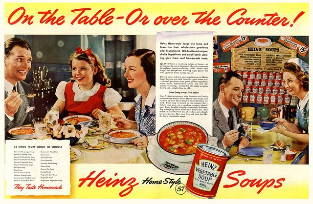 Smiles all around in this colorfully hued Heinz Vegetable Soup ad from 1941.
