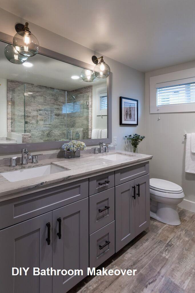 Master Bathroom Makeover Diy Ideas 2 Wooden Cabinets In 2020
