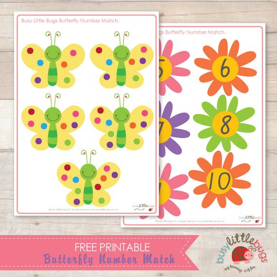 Busy Little Bugs Free Butterfly Number Match