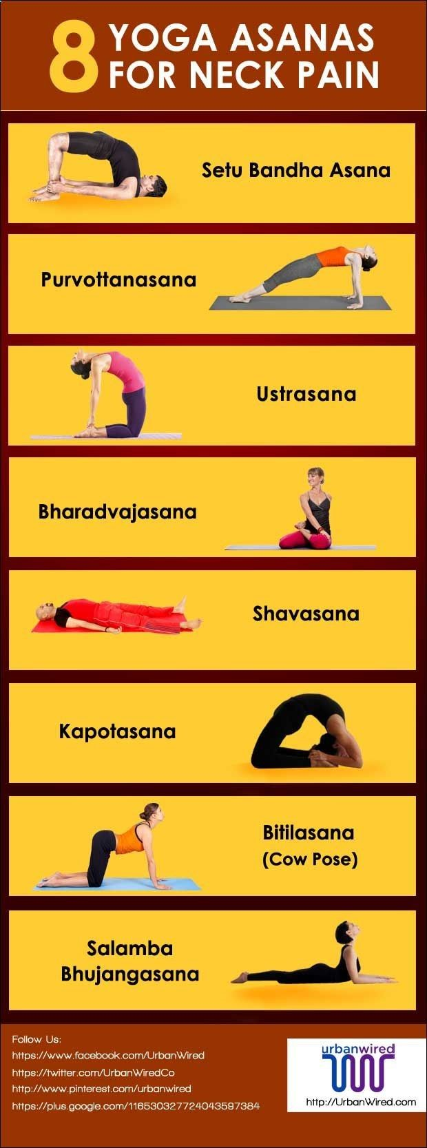 8 Most Effective Exercises and Poses Of Yoga For Neck Pain 1. Setu BandhaAsana 2. Purvottanasana 3. Ustrasana 4. Bharadvajasana 5. Shavasana 6. Kapotasana 7. Bitilasana 8. Salamba Bhujangasana