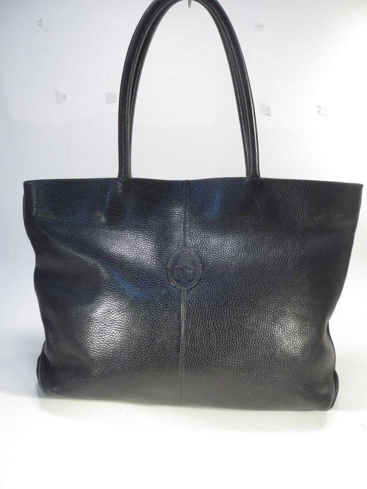 Vintage Marc Cross Italy Black Pebbled Leather Large Tote Shoulder Bag #MarcCross #ShoulderBagTote