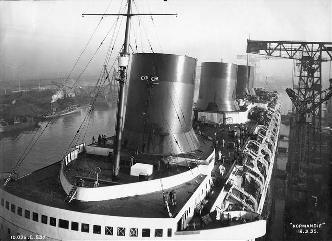 French Line NORMANDIE fitting out, 1935.
