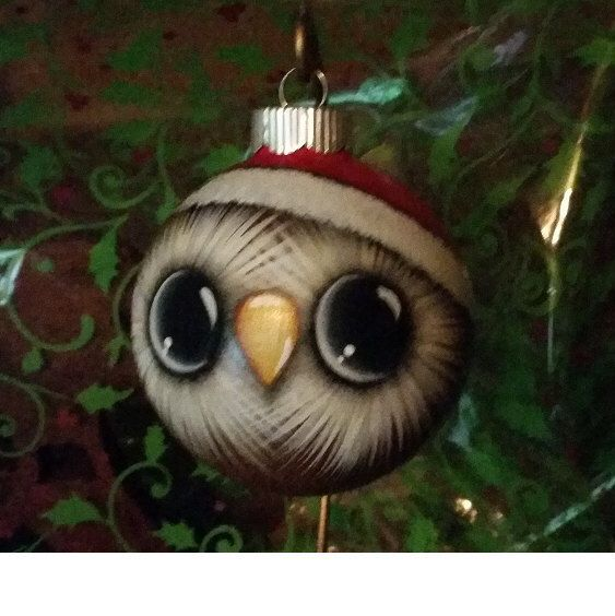 Owl Ornament with Santa Hat. Handpainted glass ornament. by GrannyKstreasures on Etsy https://www.etsy.com/listing/121829862/owl-ornament-with-santa-hat-handpainted