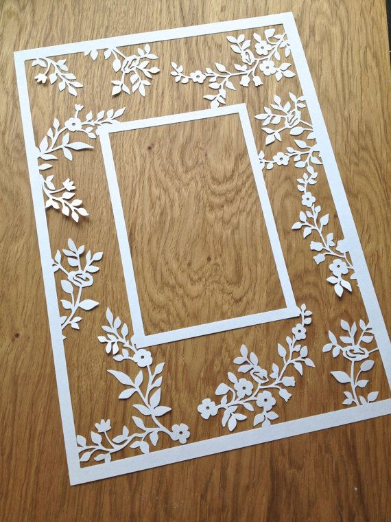 Flower Photo Frame Papercutting Template by TommyandTillyDesign