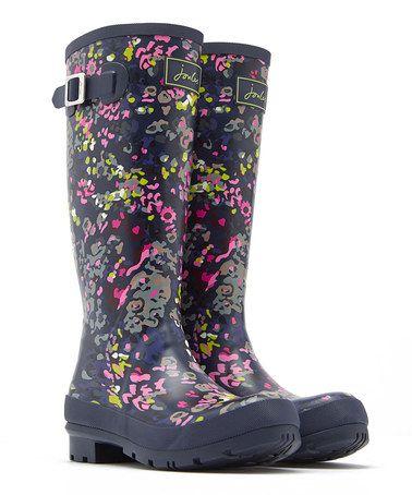Loving this Navy Leopard Welly Rain Boot - Women on #zulily! #zulilyfinds