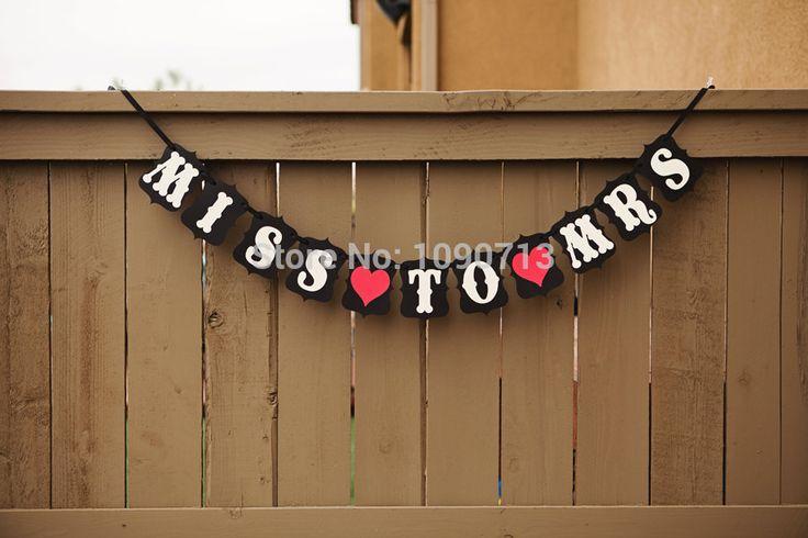 Бесплатная Доставка 1 XHandmade МИСС Г-ЖА Свадьба Бантинг Баннер Photo Booth Реквизит День Рождения Украшение Партии Опора