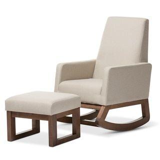 Baxton Studio Yashiya Mid-century Retro Modern Light Beige Fabric Upholstered Rocking Chair and Ottoman Set - 18076465 - Overstock - Big Discounts on Baxton Studio Living Room Sets - Mobile