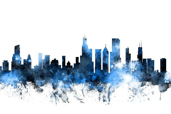 Chicago Skyline Photo Modern Art Fusion Home Decor 그림