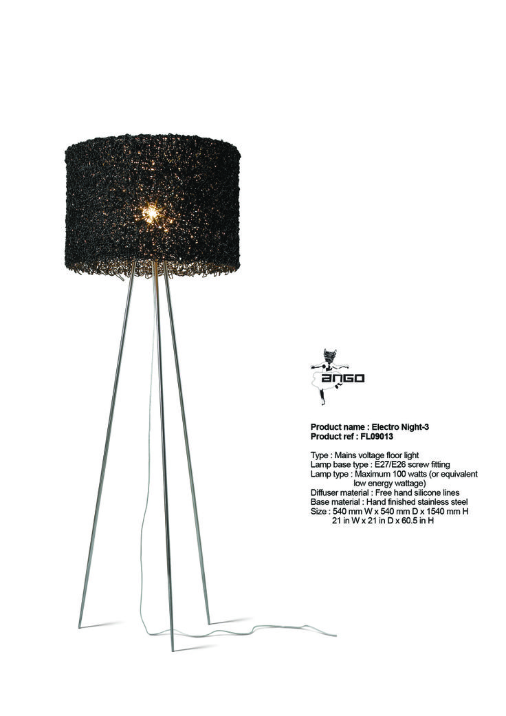 ELECTRO NIGHT - floor lamp. Stainless steel base with a lamp shade made of black silicon threads. www.udogangl.com