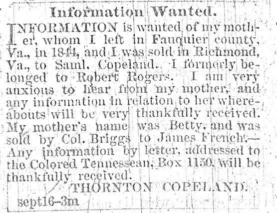 Ad in the Colored Tennessean newspaper in Nashville