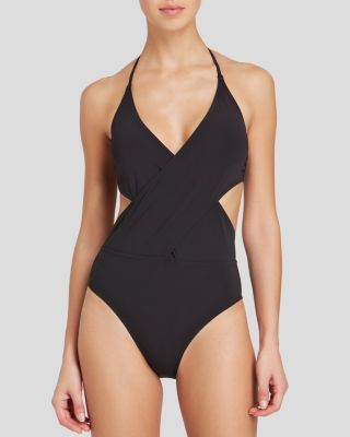 Tory Burch Solid Wrap One Piece Swimsuit | Bloomingdale's