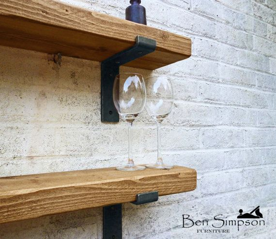 Rustic Chunky Industrial Shelf Shelves Metal Brackets Solid Wood 15cm Depth LB15