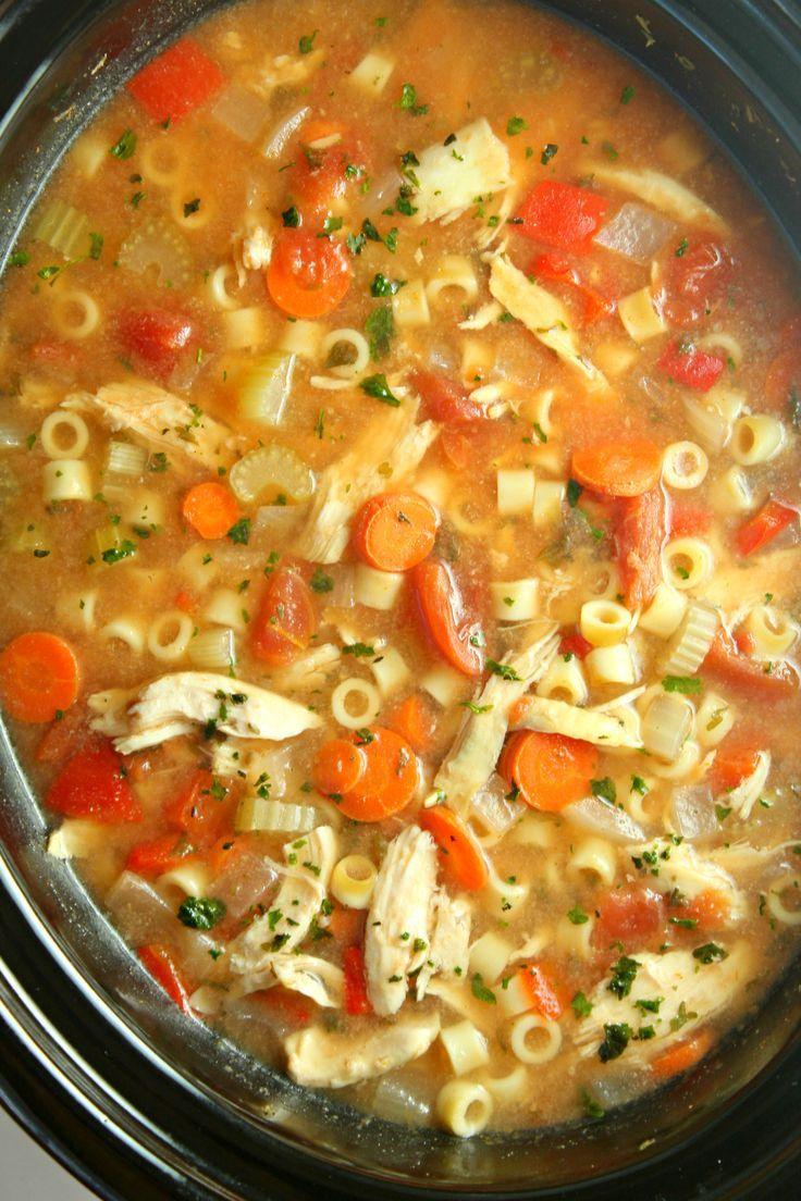 Slow Cooker Sicilian Chicken Soup Recipe Chicken Soup Recipes Slow Cooker Soup Chicken Soup Slow Cooker