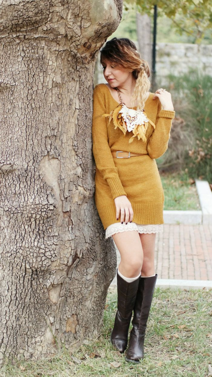 sabrina musco winter outfit senape maxi dress maxi pullover
