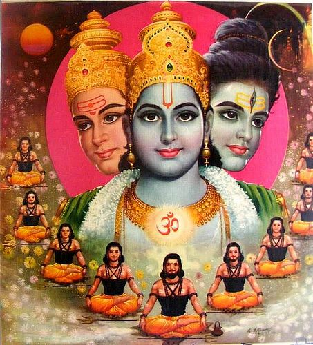 Brahma. Vishnu, Shiva -- the Hindu Trinity presiding over the Creation, the Preservation and the annihilation of the universe in an eternal cycle.