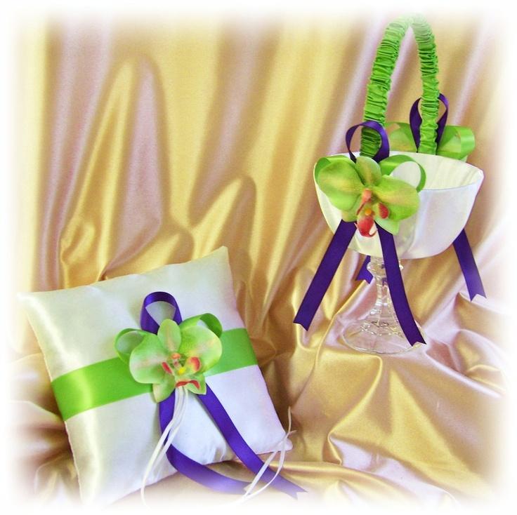 Wedding flower girl basket ring pillow, purple green weddings, spring wedding, orchid ceremony decor. $65.00, via Etsy.